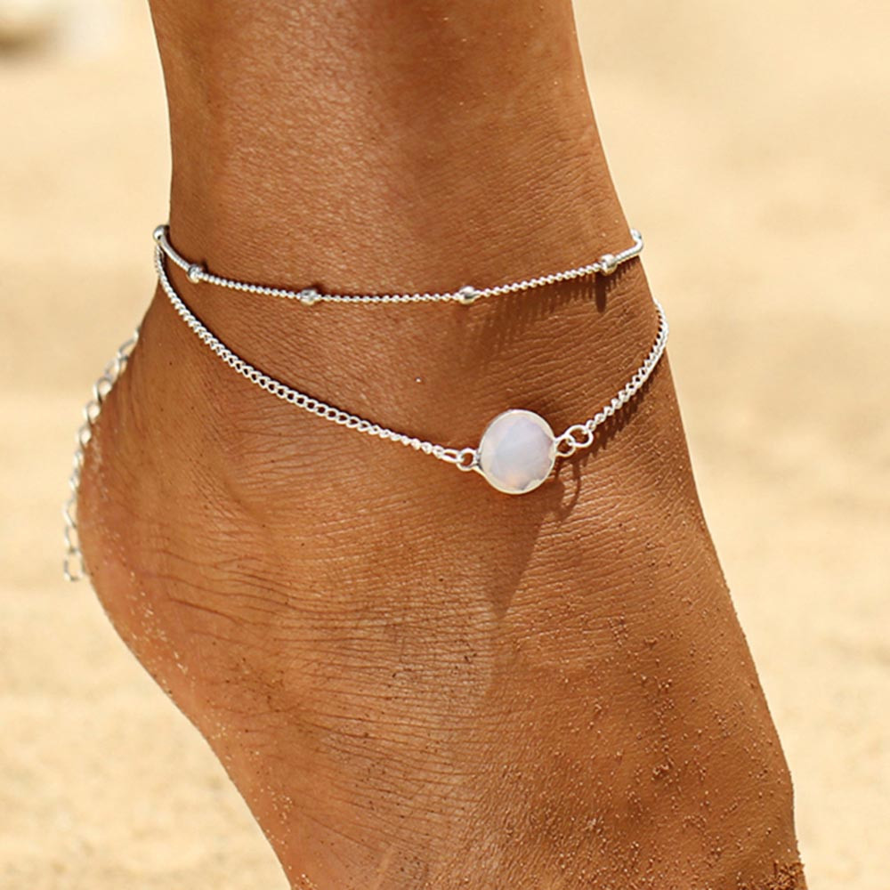 Vintage Faux Gem Beach Chain Ankle SILVER