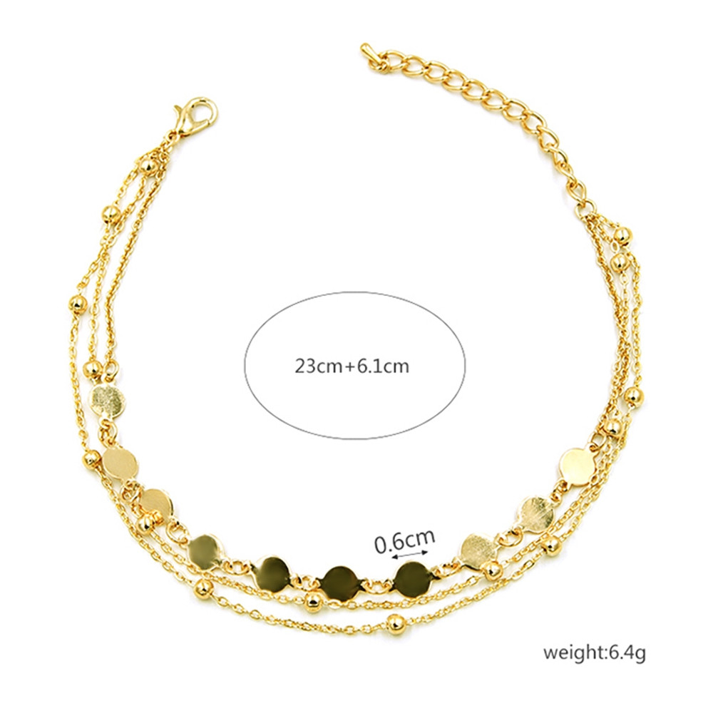 Multilayered Round Pattern Chain Anklet  GOLD