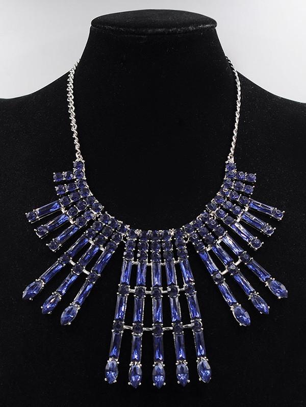 Rhinestone Statement Necklace Drop Earrings Set BLUE