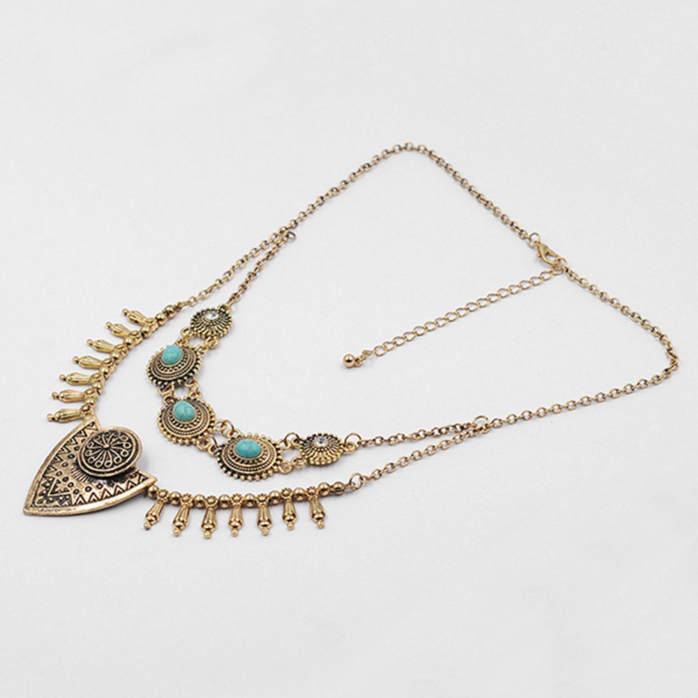 Bohemian Statement Faux Turquoise Necklace GOLD