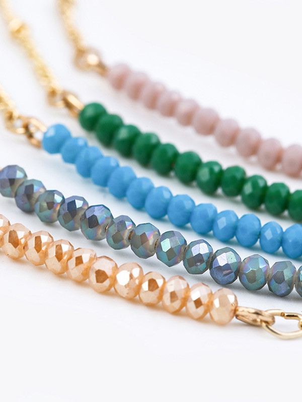Beaded Chain Collarbone Necklace CHAMPAGNE