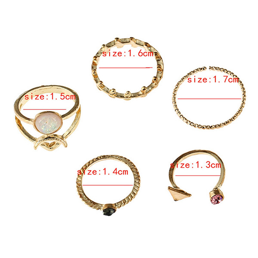 Alloy Faux Gem Triangle Leaf Ring Set GOLDEN