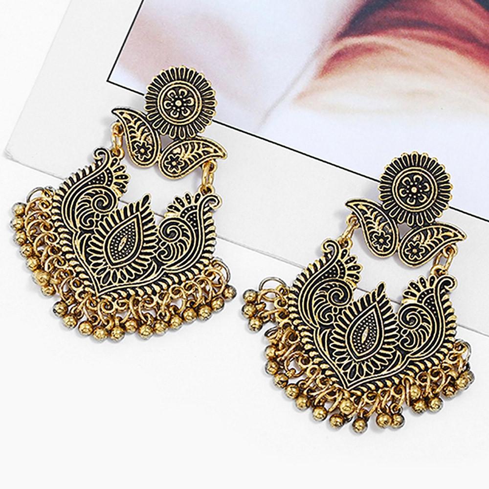 Bohemian Carved Metal Fringe Earrings GOLD