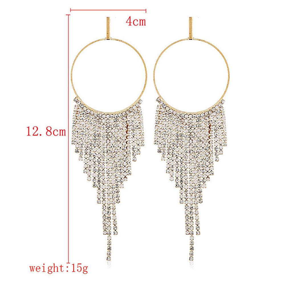 Circle Rhinestone Tassels Earrings GOLD