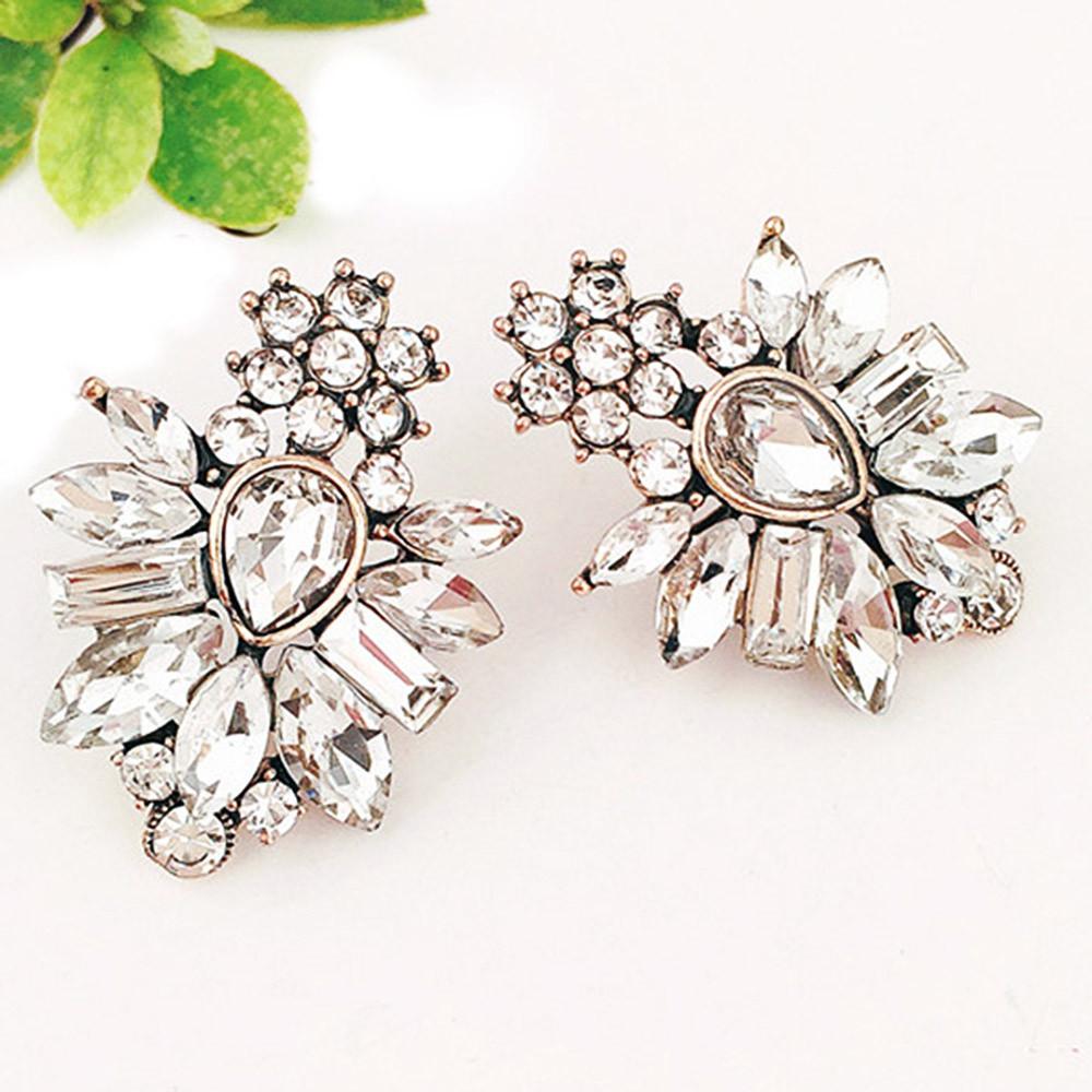 Rhinestone Faux Crystal Inlaid Drop Elegant Earrings WHITE