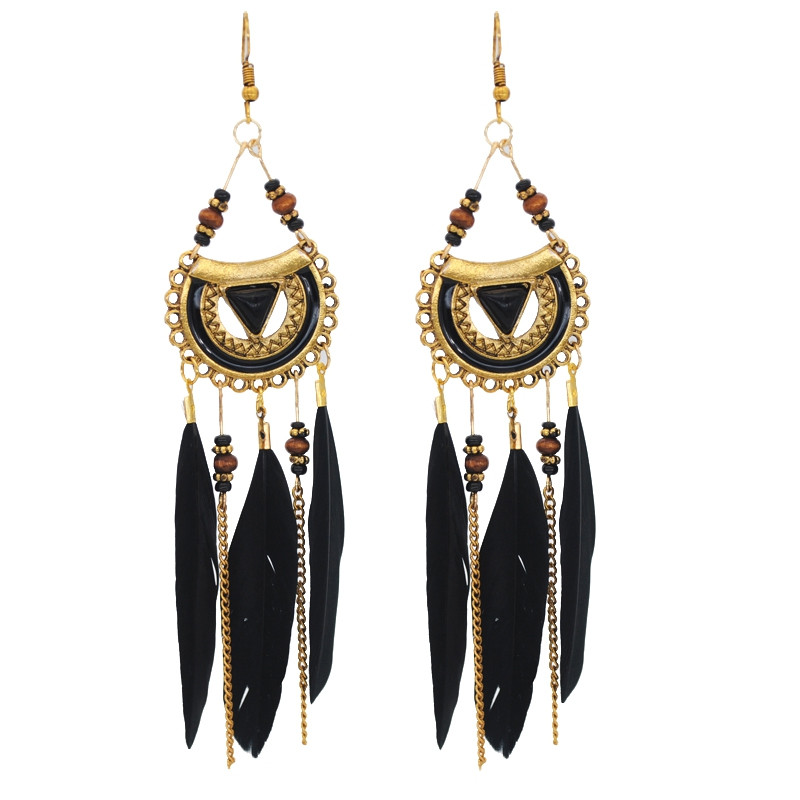 Retro Feathered Feather Earrings BLACK