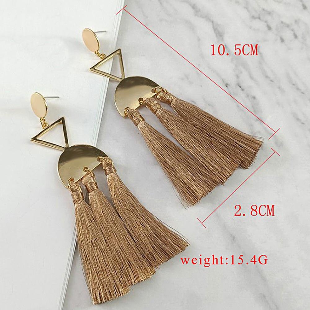 Layered Ethnic Tassel Metal Earrings CAMEL BROWN