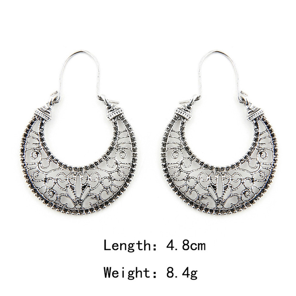 Hollow Out Moon Design Clip Earrings SILVER