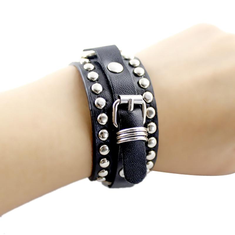 Rivet Belt Punk Rock Wrap Bracelet BLACK