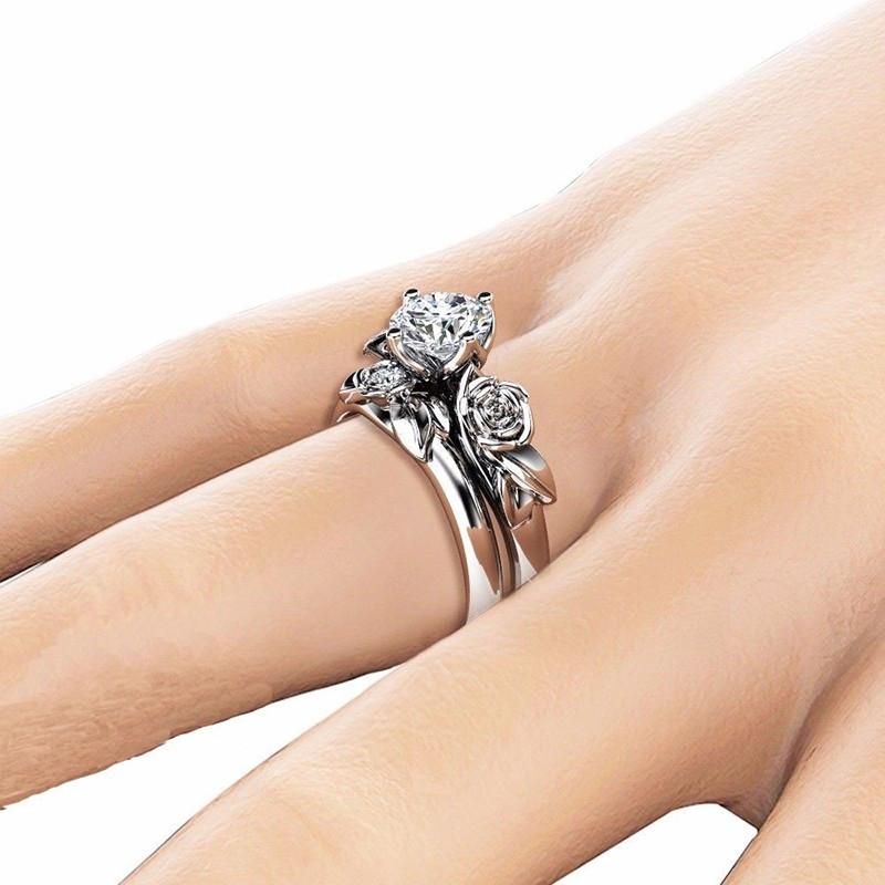 Rose Flower Diamond Couple Rings WHITE US SIZE 6