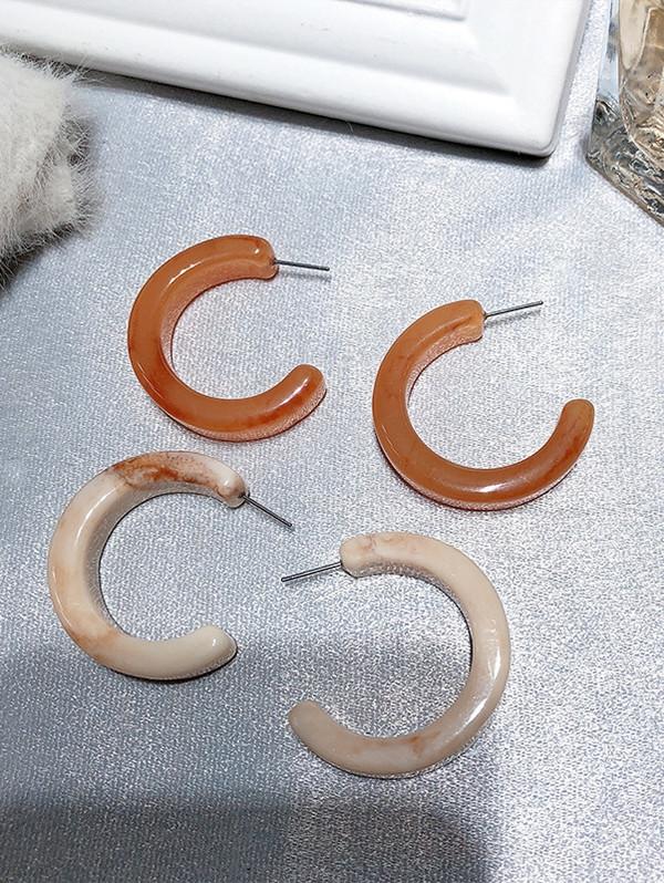 Hollow Circle Shape Acrylic Hoop Earrings SANDY BROWN
