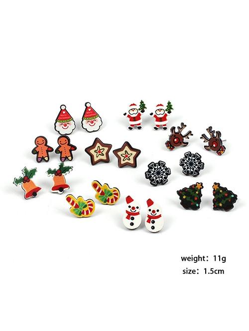Christmas Santa Elk Snowman Earrings MULTI-A