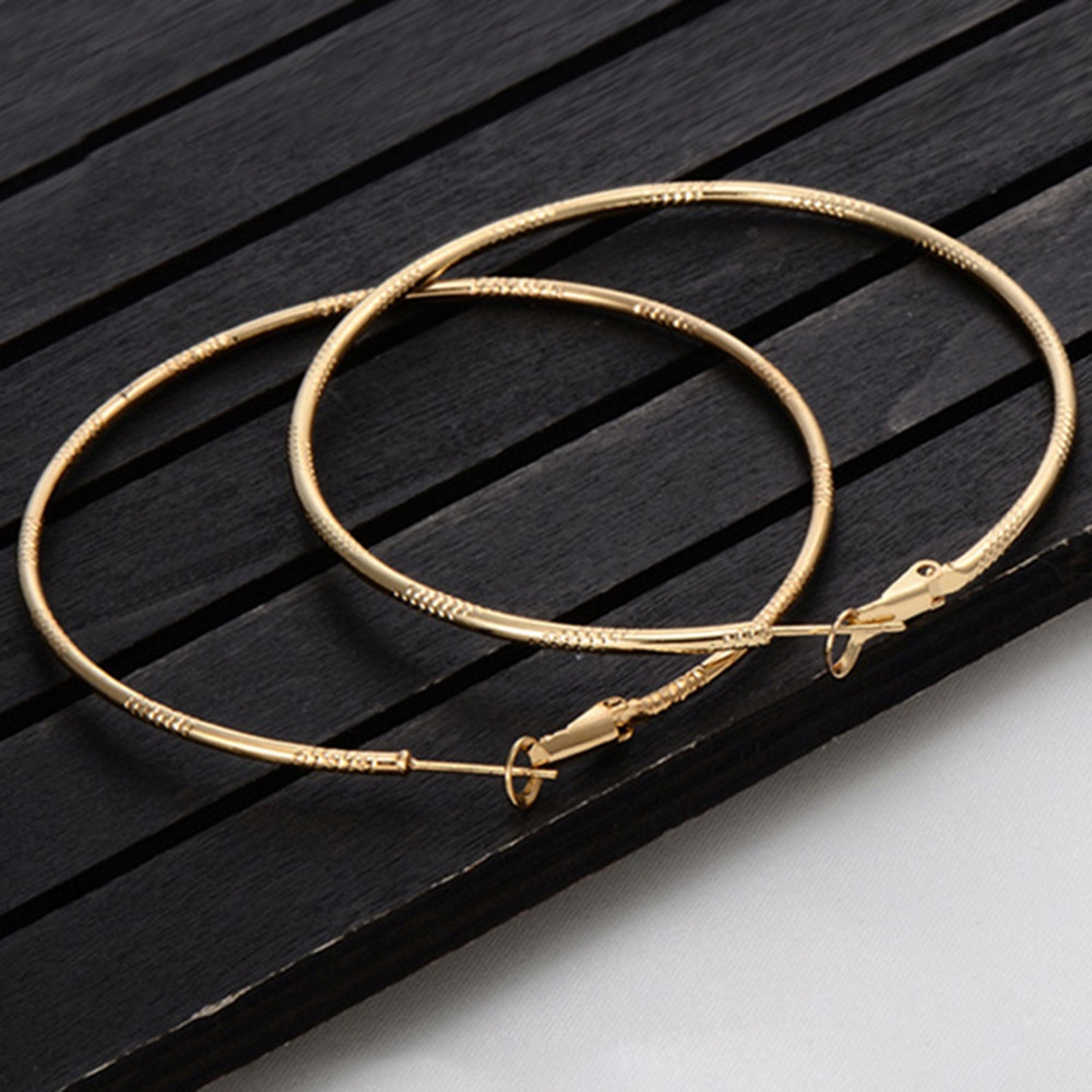 Alloy Engraved Hoop Earrings CHAMPAGNE