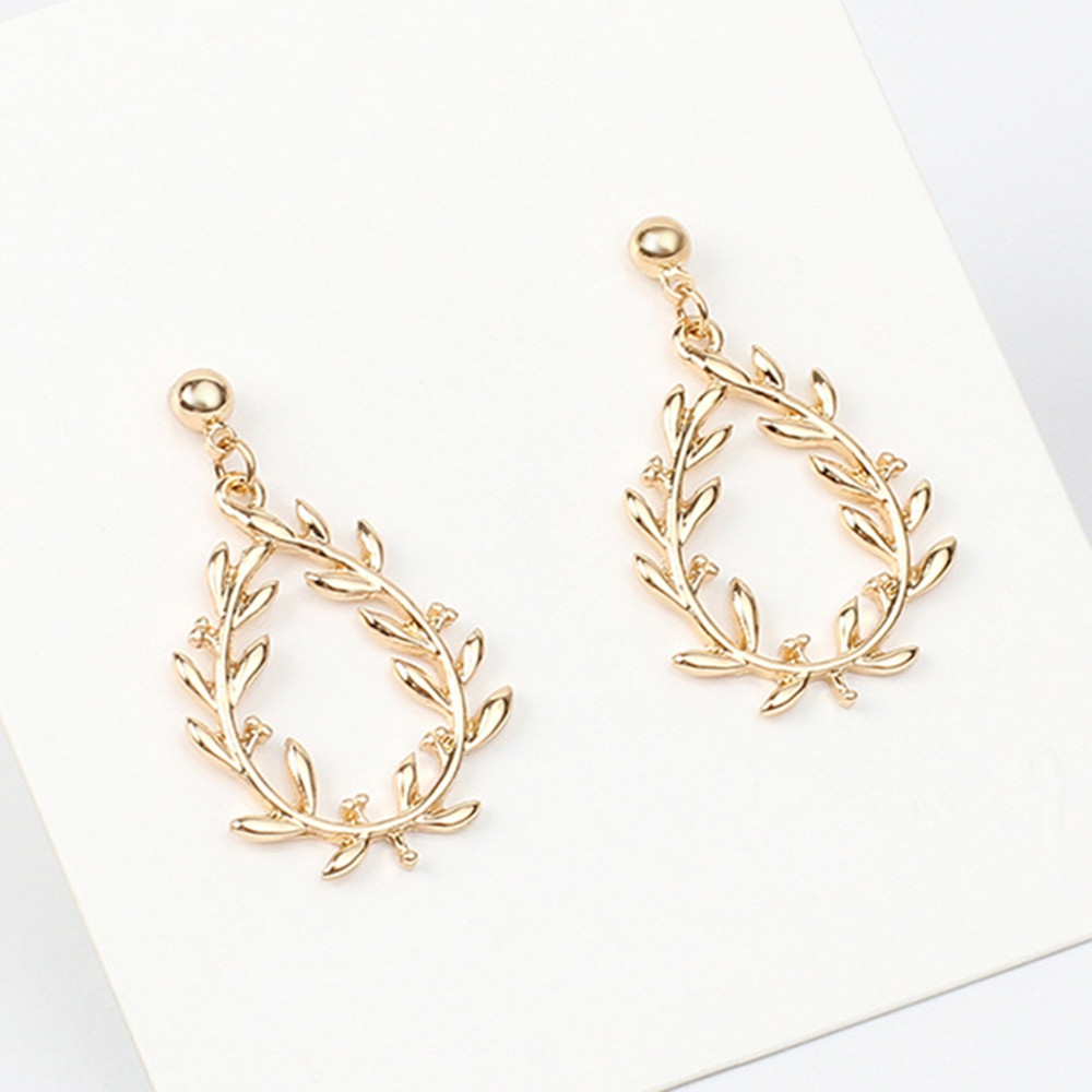 Leaves Pattern Hollow Out Earrings GOLD