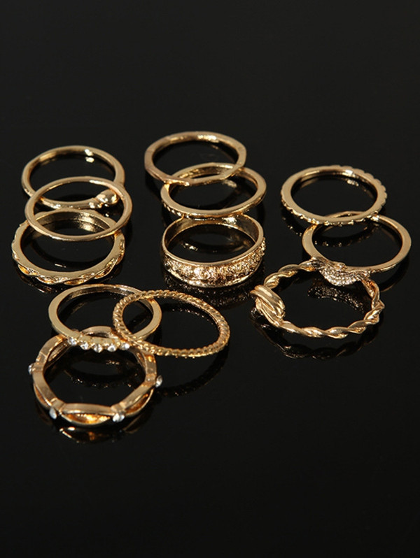 12Pcs Simple Design Rhinestone Rings GOLD