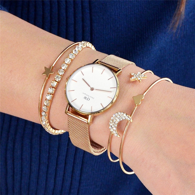 4pcs Braclet Set Stainless Steel Crystal Braclet Women Screw Hand Fashion Star Moon Love Wedding Cuff Bangle Bracelet GOLD