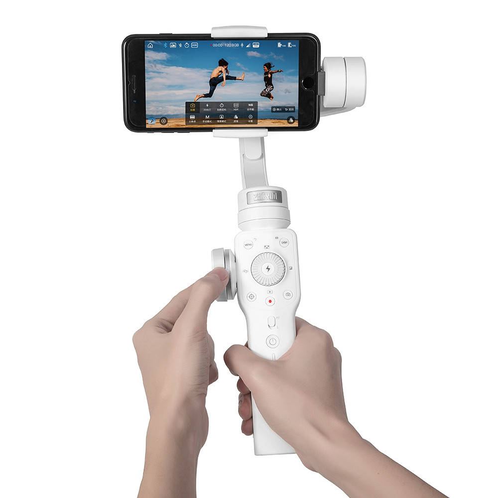 Zhiyun Smooth 4 3-Axis Handheld Gimbal Stabilizer w/Focus Pull & Zoom Capability for Smartphone Like iPhone X 8 Plus 7 6 SE Samsung Galaxy S9+ S9 S8+ S8 S7 S6 Q2 edge new Smooth-Q/III in 2018 White