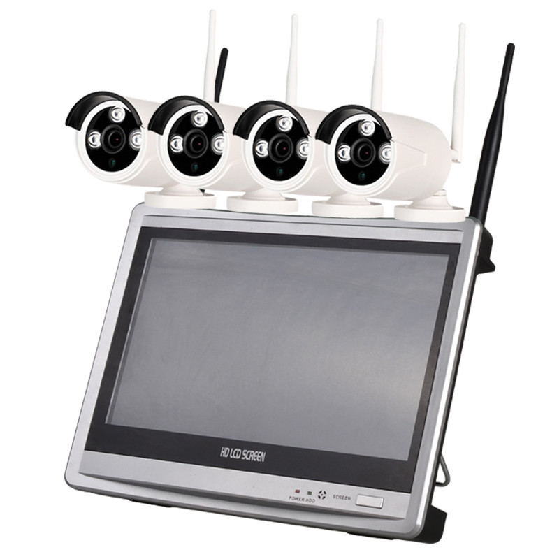 4 Channel 960P Wireless NVR Kit 12.5 inch LCD WiFi NVR 4 x 1.3MP WiFi IP Camera with Night Vision