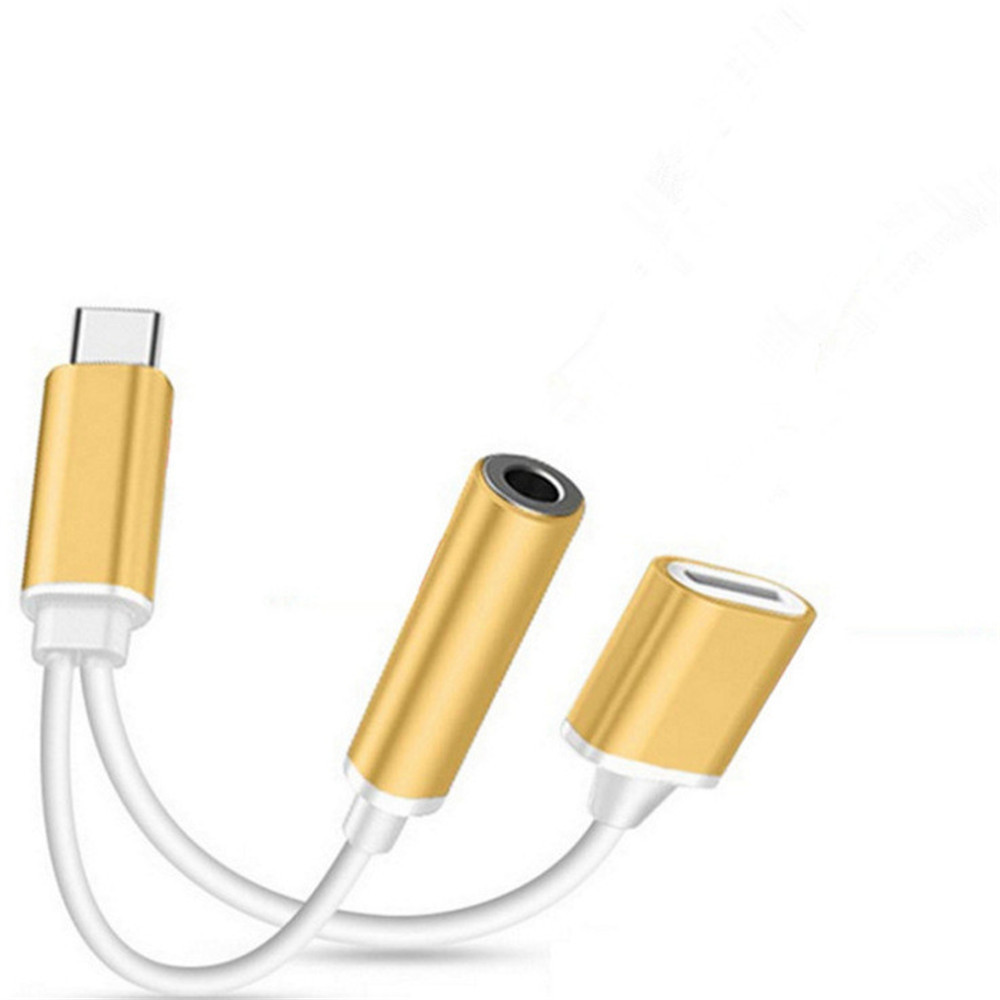 2 in 1 USB-C to 3.5mm Audio Adapter 2 in 1 USB Type C Cable Fast Charge to 3.5mm Audio Jack Headphone Adapter Converter
