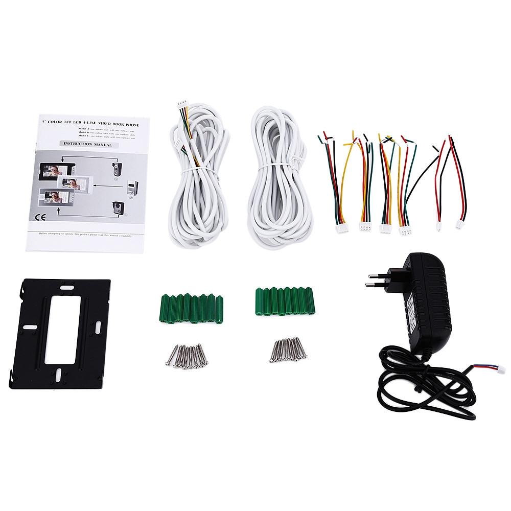SY813MKB217 inch Night Vision Video Door Phone Doorbell Intercom Kit with 2 camera 1 monitor