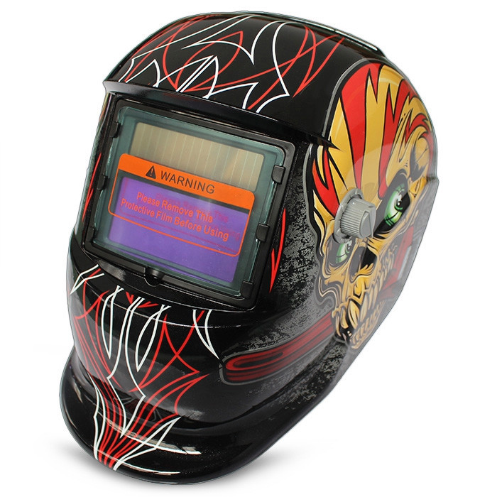 Solar Energy Automatic Changeable Light Electric Welding Protective Helmet with Film Character Pattern