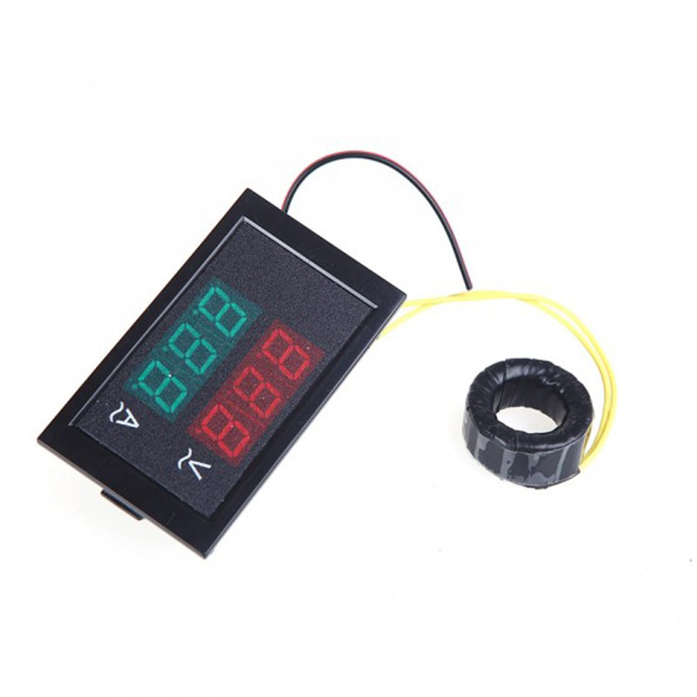 Digital LED Voltage Meter Ammeter Voltmeter with Current Transformer AC 80-300V 0-99.9A Dual Display