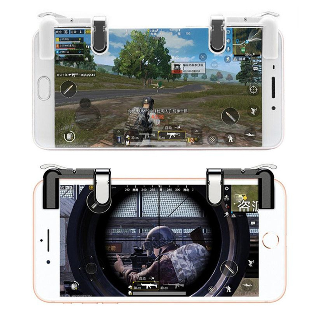 2PCS Mobile Trigger Fire Button Aim Key Phone Games Shooter Controller