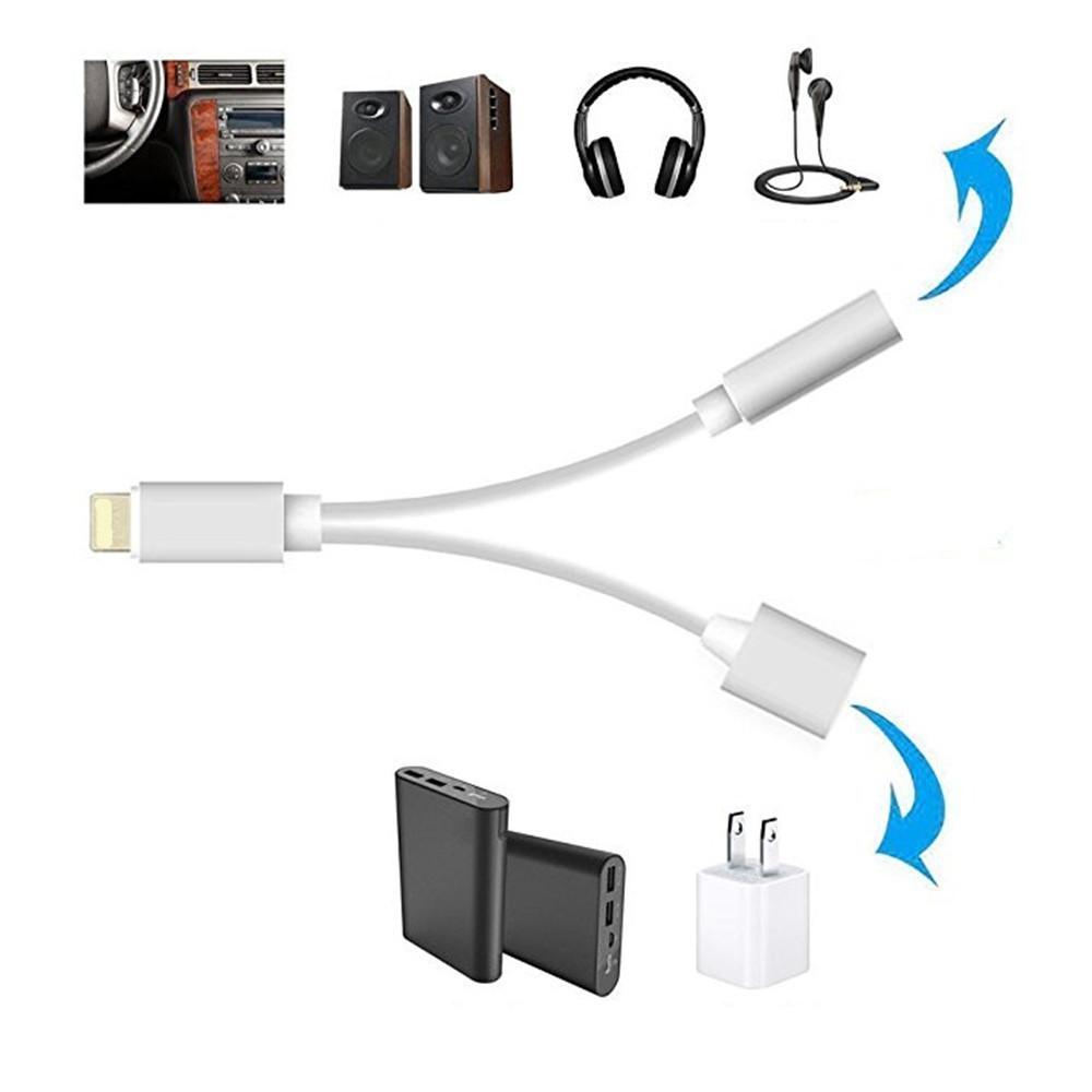 2 in 1 Audio Adapter 8 Pin to 3.5mm Aux Headphone Jack / 8 Pin for iPhone 7 Plus / 7