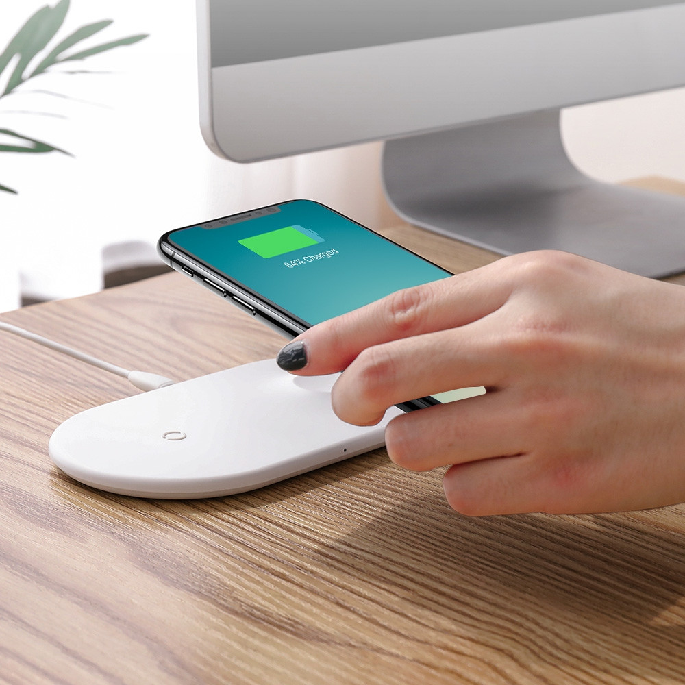 Baseus 2-in-1 Wireless Charging Pad Fast Charger for iWatch Mobile Phone