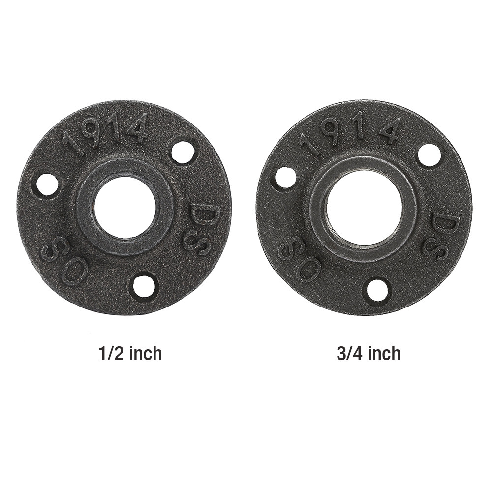 10PCS Malleable Cast Iron Floor Flange Fittings for DIY Pipe Shelf