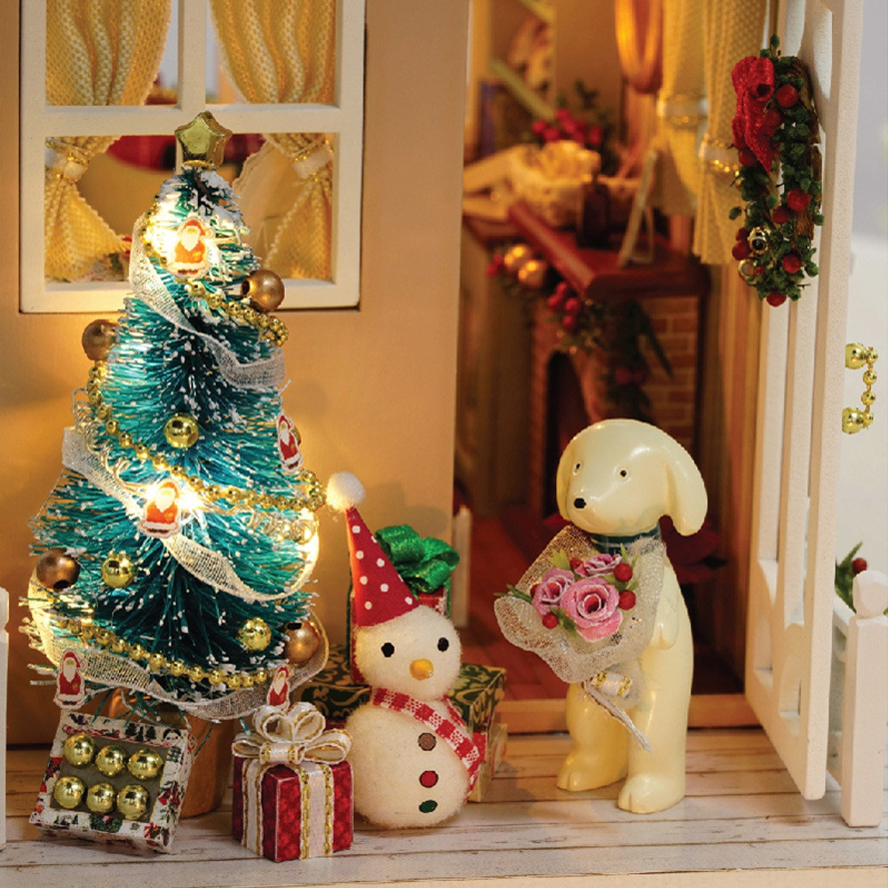 CUTEROOM DIY Wooden House Furniture Handcraft Miniature Box Kit with LED Light - Holiday Time