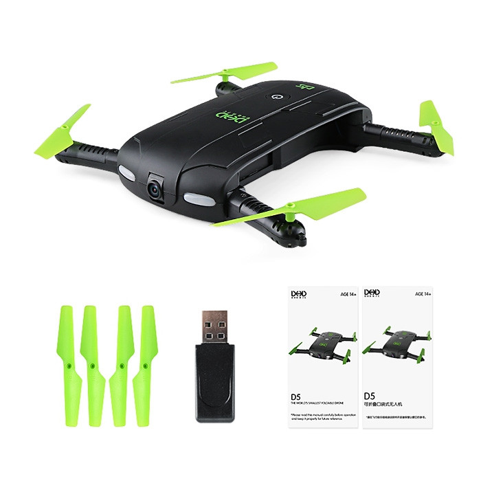 DHD D5 Mini Foldable RC Pocket Quadcopter BNF WiFi FPV 0.3MP Camera / G-sensor Mode / Waypoints
