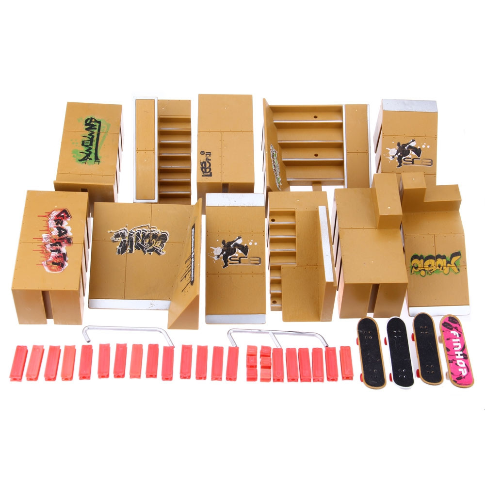 11pcs Skate Park Kit Ramp Parts for Tech Deck Finger Board Ultimate Sport Training Props