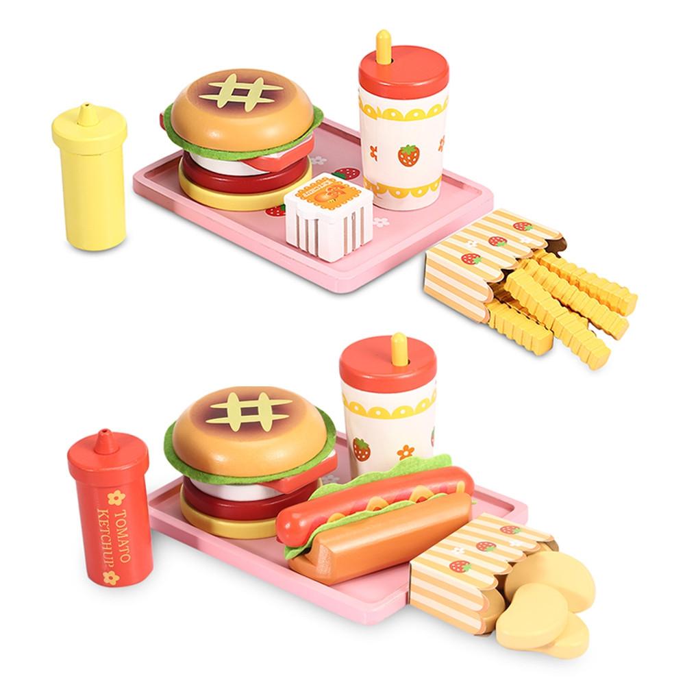 Wooden Hamburger Set Kitchen Food Toy