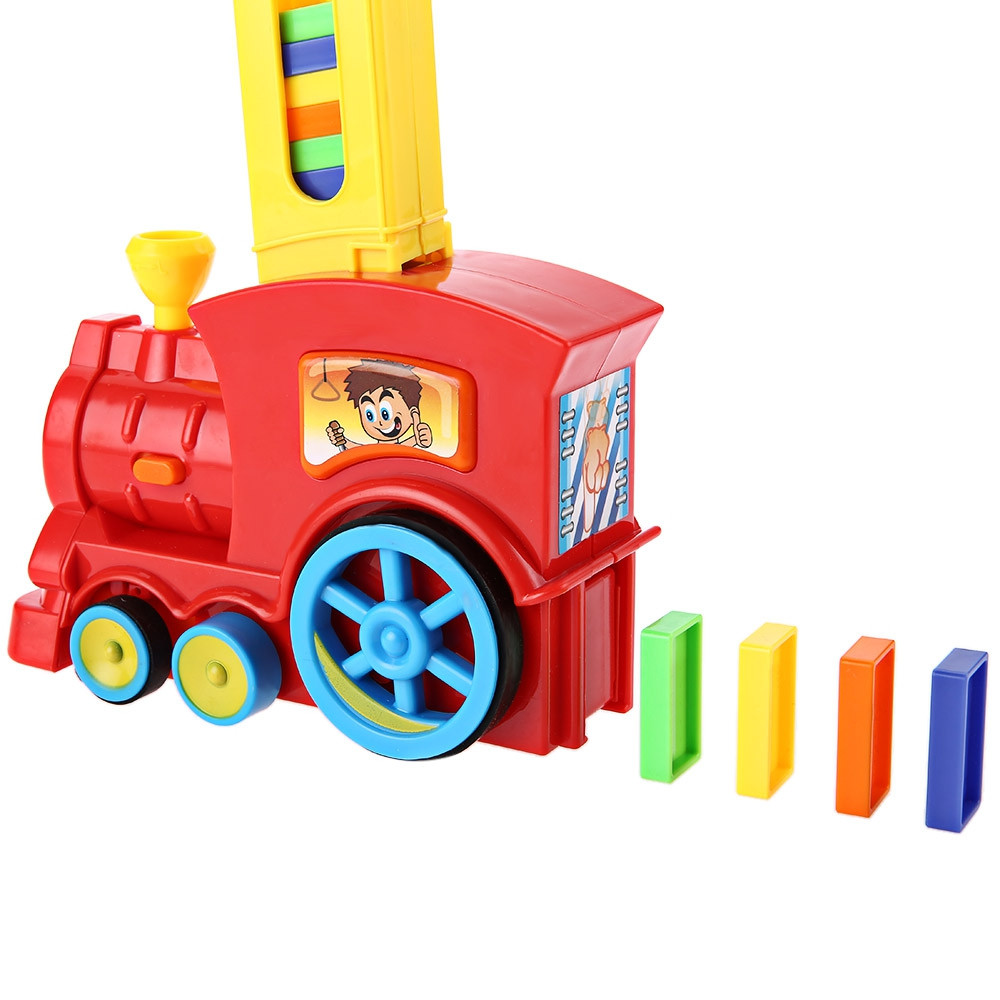Classic Domino Rally Train Toy Set Ideal Birthday Christmas Gift with Light Sound