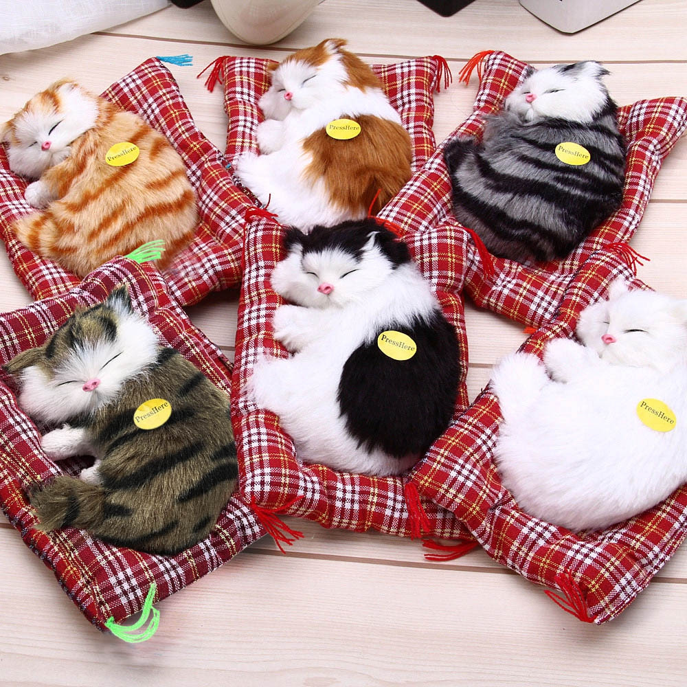 Simulation Sleeping Cat Craft Toy  with Sound