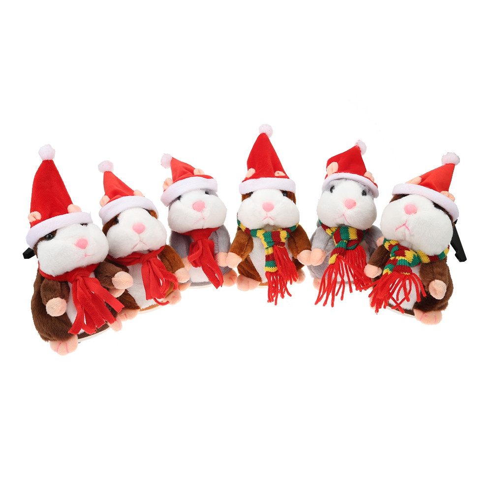 Christmas Style Cute Talking Hamster Plush Toy Sound Record