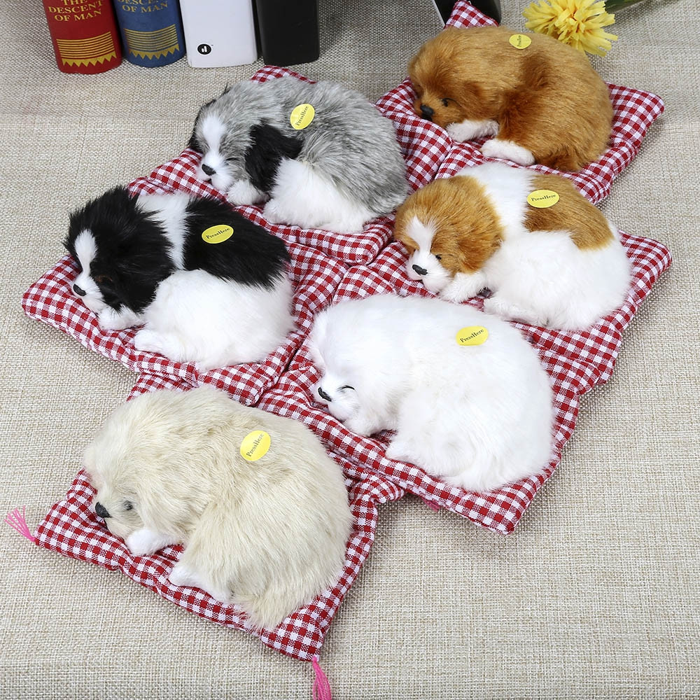 Simulation Sleeping Dog Craft Toy with Sound