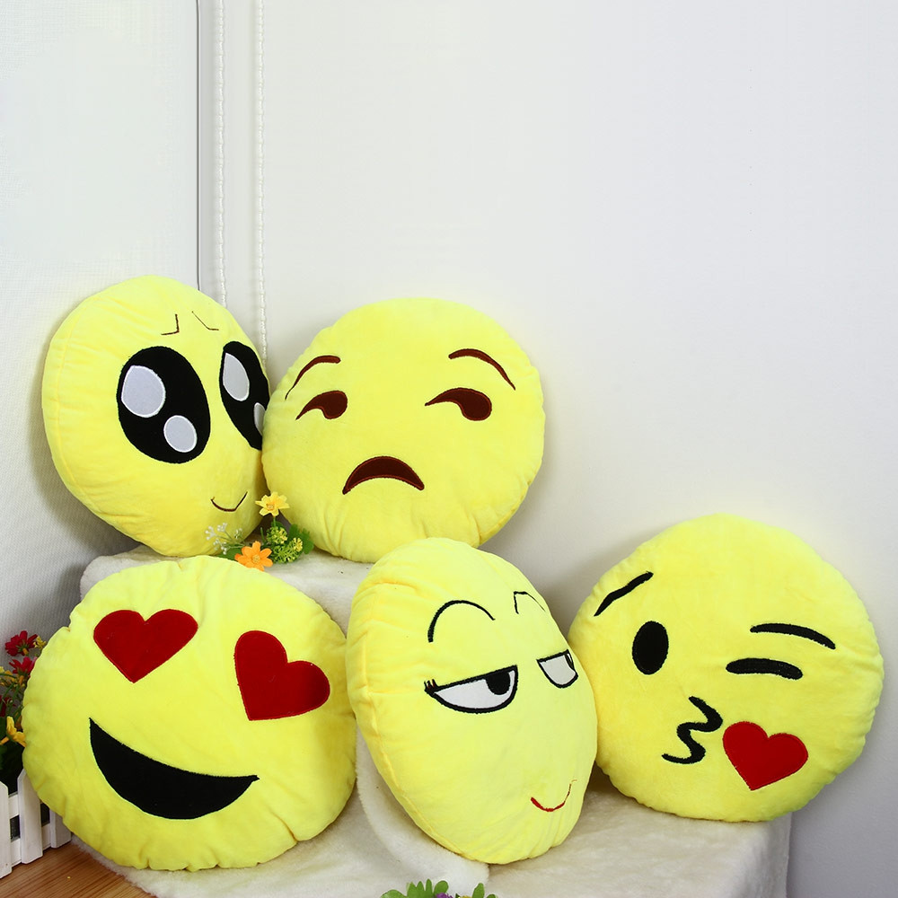 33cm Emoji Smiley Emotion Round Throw Pillow Stuffed Plush Soft Toy