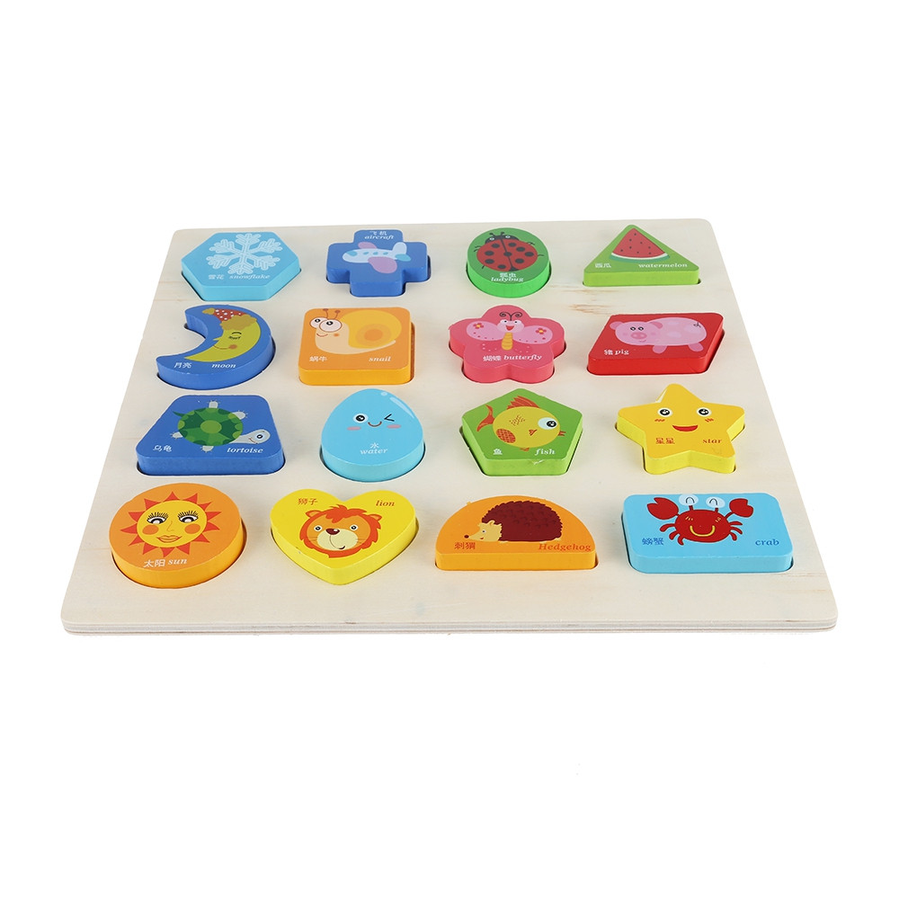 3D Wooden Puzzle Plate Board Cognitive Educational Toy