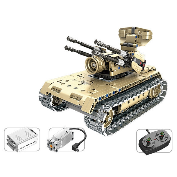 DIY Electric Remote Control Self-propelled Artillery Building Blocks Children Educational Toy