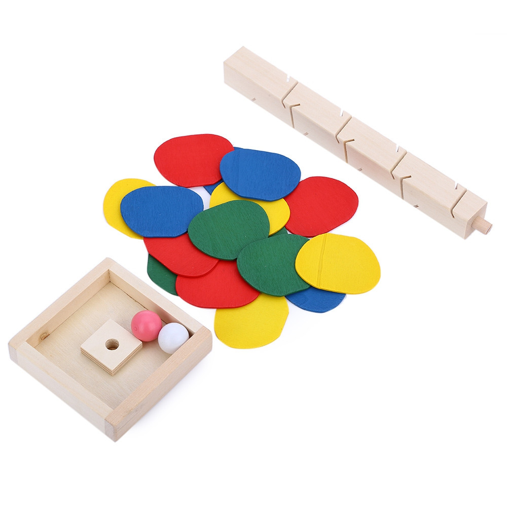 Colorful Wooden Marble Tree Run Track Game Kids Educational Toys