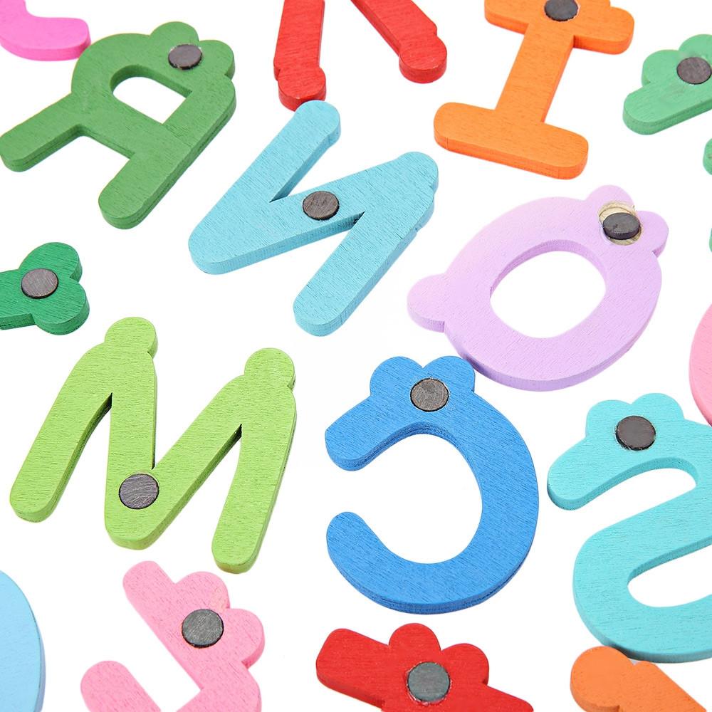 26Pcs Colorful Wooden Cartoon Letter Fridge Magnet Educational Kids Toys