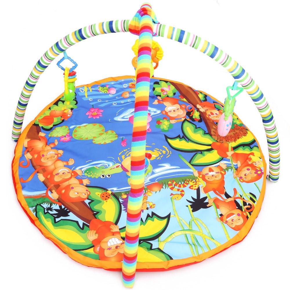 Baby Soft Play Mat Cartoon Animal Gym Blanket with Frame Rattle Crawling Developmental Toy