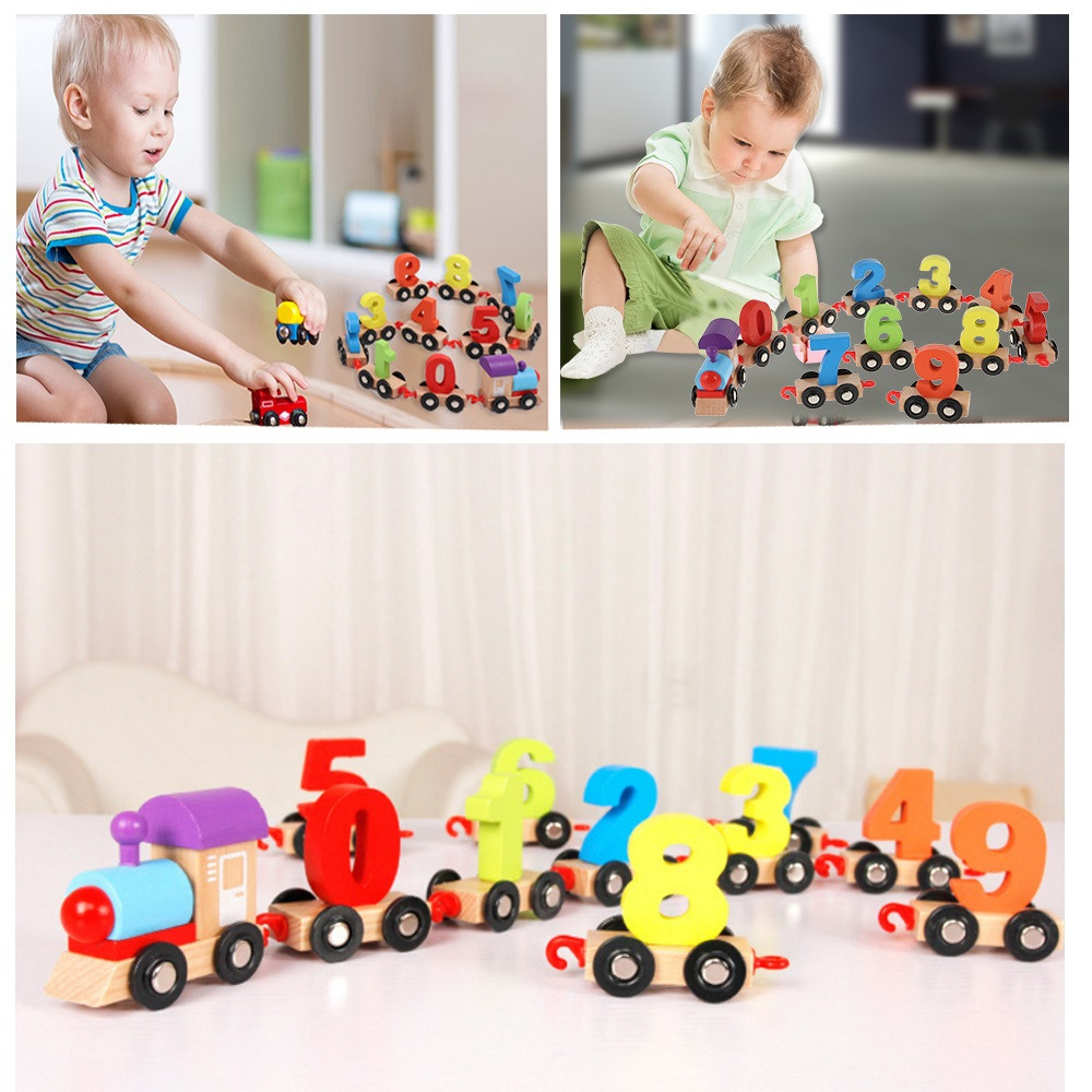 Digital Wooden Train Building Block Puzzle Toy 11pcs