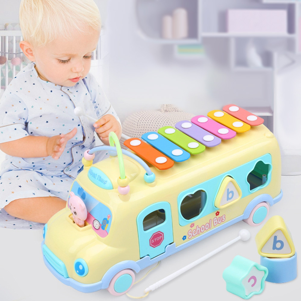 Baby Music Bus with Percussion Piano Matching Blocks