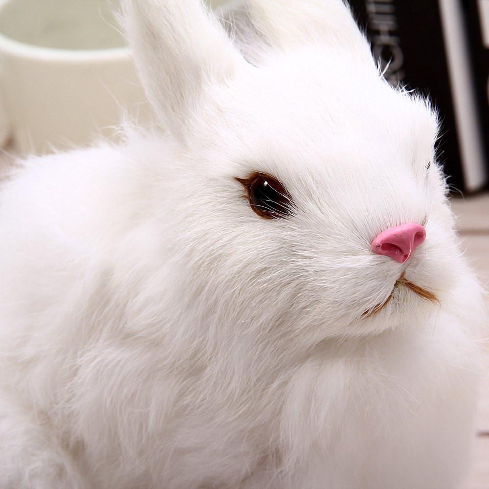 Simulation Furry Squatting Rabbit Craft Toy