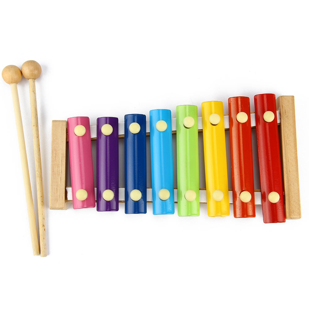 Kid Wooden 8 Notes Musical Toys Hand Knock Xylophone Educational Toys