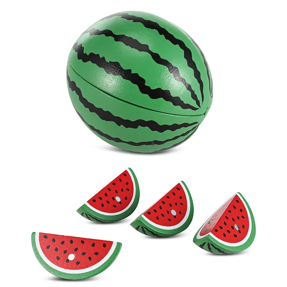 Magnetic Watermelon Shape Simulation Wooden Sliced Toy