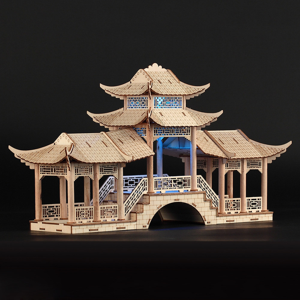3D Ancient Architectural Model Simulation Puzzle Gallery Bridge